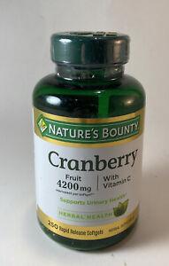 Nature's Bounty Cranberry Fruit 4200 mg Plus Vitamin C 250 softgels Exp 04/2022