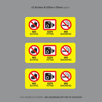 3 x No Eating Drinking CCTV Fitted Taxi Stickers Minicab Cab Notice - SKU3144