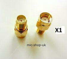 RP SMA Male Plug to SMA Female Jack WiFi Antenna Extender Adapter Gold  x 1
