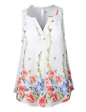 FashionOutfit Women's Lightweight V-Neck Sleeveless Floral Print Chiffon Blouse