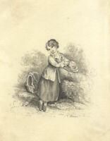 Miss Marsh - 19th Century Graphite Drawing, Emma