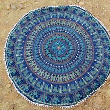 Indian Blue Tapestry Mandala Pompom Round Cotton Table Cloth Beach Blanket Throw