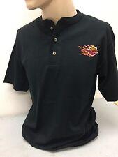 Harley-Davidson Men's Henley S/S Black 3 Button Shirt B&S Flame XL