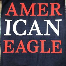 """American Eagle Outfitters Red White Blue Fleece Throw Blanket 52"""" x 64"""" NEW"""