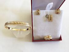 14K Yellow Gold Jewelry set of  CZs Earrings, Pendant, Ring, & bangle - O20