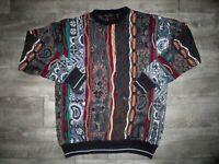 Vtg Brandini Bulgaria Sweater Jumper Colorful XL Men's Cotton Cosby Biggie Style