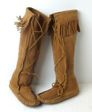 Women's Minnetonka 1321 Brown Suede Lace Up Knee Hi Moccasin Boots Sz 6 M