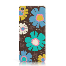 YELLOW BLUE DAISY STYLE NEON FLOWER PATTERN PHONE CASE COVER FOR SONY XPERIA