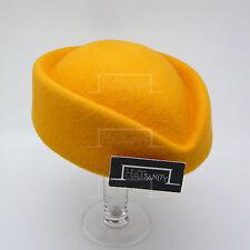 CLASSIC Wool Felt Women Pillbox Hat Ladies ELEGANT Party Fascinator | Yellow