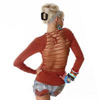 Sexy Sweatshirt Shirt Pulli Pullover Rot Schnürung Rücken Frei 34 36 38