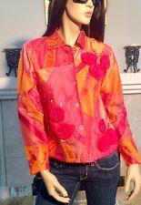 Coldwater Creek Orange Pink Blouse Shirt Flower Applique Top Beaded XS (T269)
