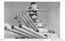 Big Guns of FLAGSHIP PENNSYLVANIA Military US Navy WWII c1940s Vintage Postcard