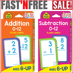 School Zone 0-12 Flash Cards 1st Grade 2nd Grade Addition Subtraction Problems