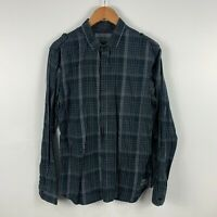Mossimo Inc. Mens Button Up Shirt Size L Black Plaid Long Sleeve Collared