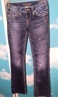 Silver Women's Jeans Size 25 W X 33 L Pioneer Boot Cut Blue Lightly Distressed
