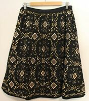 FLEUR WOOD ~ Black Cotton Full Skirt w Gold Sequined Embroidery sz 2 10 12