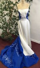 Blue & Ivory de gala de fantasía Elf Elsa Nieve Hielo Reina Princesa Halloween