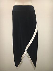 KITX Kit Willow Black Cream Silk Asymmetrical Pencil Skirt Size 12 Fit 10 12