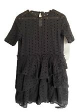 H&M Trend Black Summer Mini Dress Broderie Anglaise - Style Size EU36 / UK10