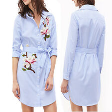 Womens Ladies Shirt Dress Long Sleeves Striped Embroidered Floral Casual Dresses Blue M