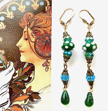 Vintage Style Green EARRINGS Lampwork Czech Glass Austrian Crystal Pierced #1087