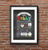 PERSONALISED First 1st Birthday chalkboard keepsake style PRINT.  A4 A3 RAINBOW