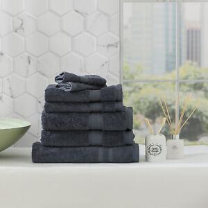 Renee Taylor Stella 650 GSM Bamboo Cotton Bath Towel Pack & Individual Indigo
