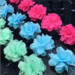 1-8 Yards 6CM Big Wide Colorful Chiffon Flower Gathered Lace Trim DIY
