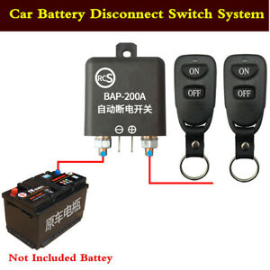 Car Battery Disconnect Safety Kill Cut-off Switch With 2Pcs 50M Wireless Remote