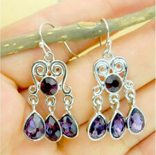 Vintage Women Silver Amethyst Gemstone Engagement Wedding Hook Earrings Jewelry