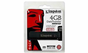 4GB Kingston DataTraveler 4000 G2 Encrypted USB 3.0 Flash Drive - Black