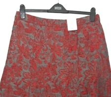 M&S Marks 20Long 30L Classic Red Floral Jacquard Look CottonMix Aline Skirt BNWT