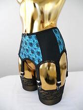 Small Blue + Black 6 Strap Burlesque Designer Suspender Belt 26 - 28 Inch Waist