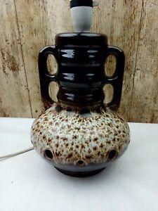 "Vintage Mid Century 12"" Brown Honeycomb Lava Pottery Lamp Base - West German"