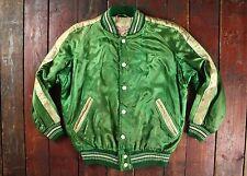De colección satén de Nylon Verde 50s alemán Landsberg Varsity Jacket Unisex Corto Pequeño