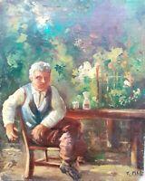Autore ignoto - Dipinto olio su tavola firmato