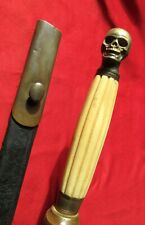 Early Masonic Skull Sword w Black Leather Scabbard Civil War Era Memento Mori.