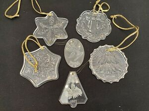 2 Val Saint Lambert Dated Ornaments + 4 Clear Glass Crystal Christmas Ornaments