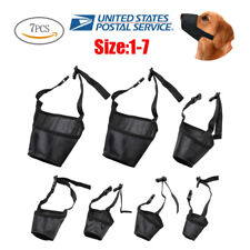 7x Adjustable Pet Dog Muzzle Fabric Nylon Comfortable Soft No Bark Bite Chew Usa