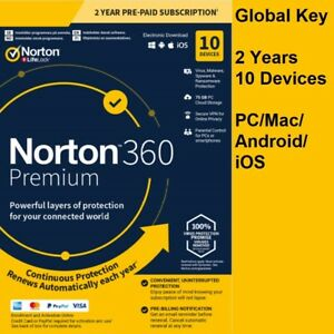 Norton 360 Premium 2021 | 10 Devices 2 Years | PC/Mac | 75GB Backup | Secure VPN