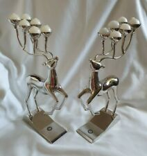 ❀ڿڰۣ❀ GODINGER Set of Two SILVER PLATED REINDEER Candelabra CANDLE HOLDERS ❀ڿڰۣ❀