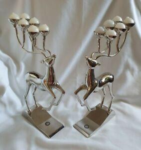 ❀ڿڰۣ❀ GODINGER Set of Two SILVER PLATED REINDEER Candelabra CANDLE HOLDERS ❀ڿڰۣ❀