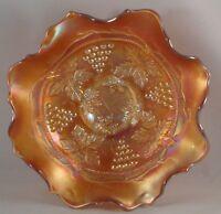 FENTON Glass Bowl Carnival Marigold Grape Cable Ruffled Edge Collared Base VTG