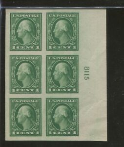 1916 US Postage Stamp #481 Mint Never Hinged Very Fine Plate No. 8115 Block of 6