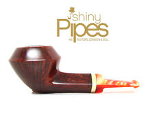 Alpha Gremlin Short Rhodesian Estate Pipe w/ Orange Lucite Stem - k59