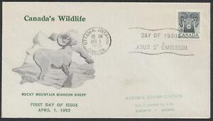 1953 #324 Bighorn Sheep Wildlife FDC, Personal Green Text Cachet, Ottawa