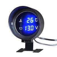 2in1 Car Water Temp Temperature Meter & Voltmeter Gauge Blue LED Digital Display