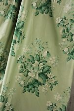 Antique French green floral chintz fabric material 1930's unused per 3 YARD