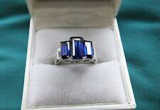 10 Carat Gold Hallmarked Art Deco Style Blue Stone/Diamond Ring  - Size N - VGC