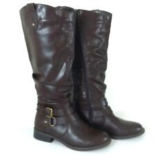 White Mountain Womens 6.5 Boots Lioness Brown Knee High Buckle Slouch Riding